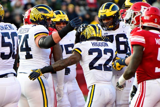 Karan Higdon, Michigan celebrates