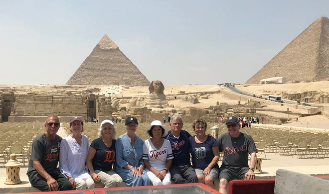 Peter Karr of Plymouth, left, Penny Hamblin of Novi, Deborah Ross of Walled Lake, Wendy Gould of Brighton, Patti Ketelhut of Farmington Hills, Kurt Norris of Plymouth, Jackie Norris of Plymouth and Richard Ketelhut of Farmington Hills took the D on a late-summer visit to the Great Sphinx and pyramids at Giza, Egypt. The group, mostly all former Novi Community School District employees, went on a 10-day tour of Egypt in August.
