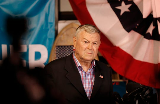 U.S. Rep. Dana Rohrabacher, R-Costa Mesa, addresses members of the media and supporters waiting for elections results at the Skosh Monahan's Irish Pub in Costa Mesa, Calif., Tuesday, Nov. 6, 2018.