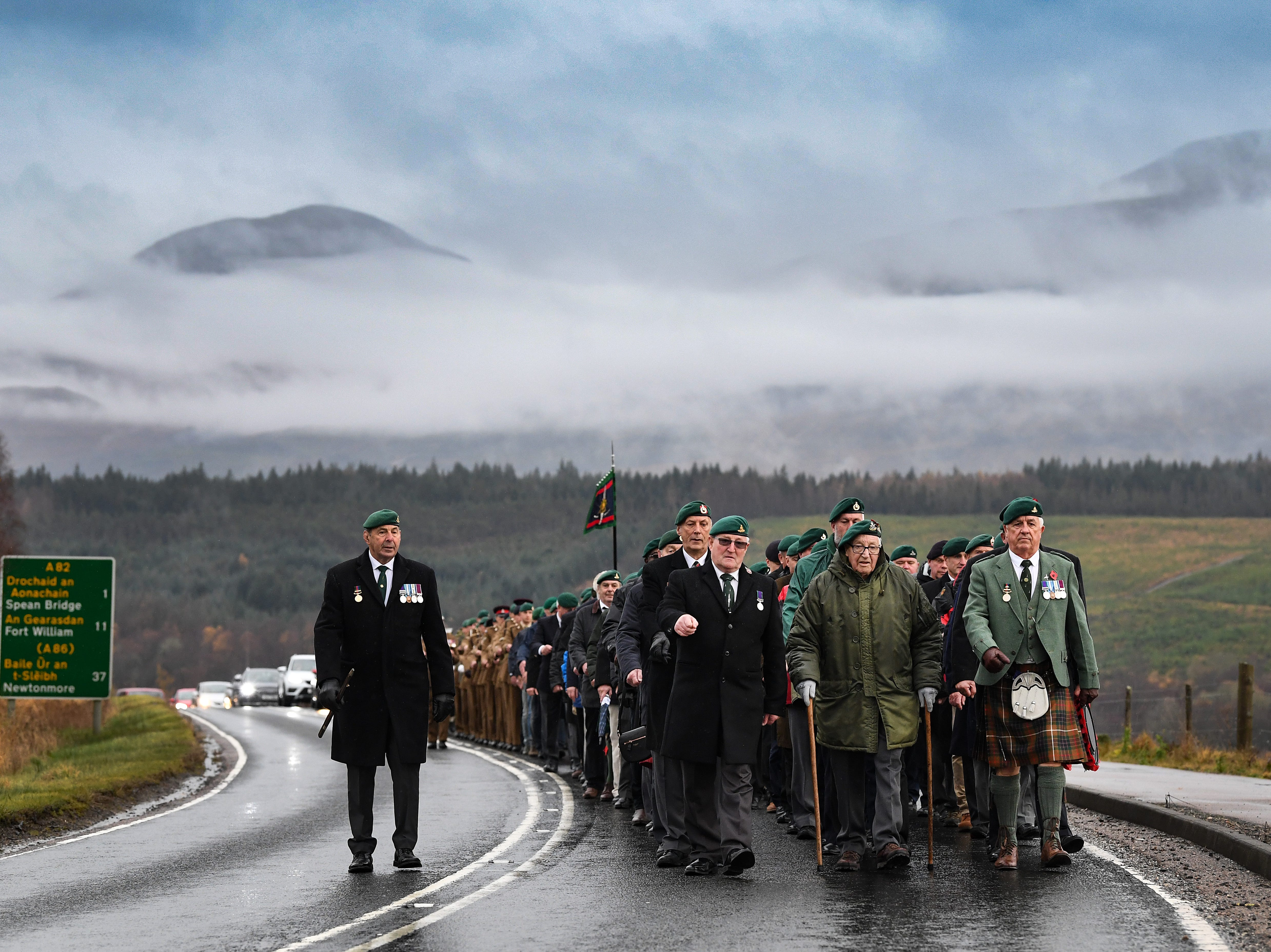 Serving and former commandos gather during the Commando Memorial Service to commemorate the sacrifice of service men and women who fought in the two World Wars and subsequent conflicts  on Nov. 11, 2018 in Spean Bridge, Scotland. The armistice ending the First World War between the Allies and Germany was signed at Compiegne, France on the 11th hour of the 11th day of the 11th month at 11 a.m. in 1918. This day is commemorated as Remembrance Day, with special attention being paid for this year's centenary.
