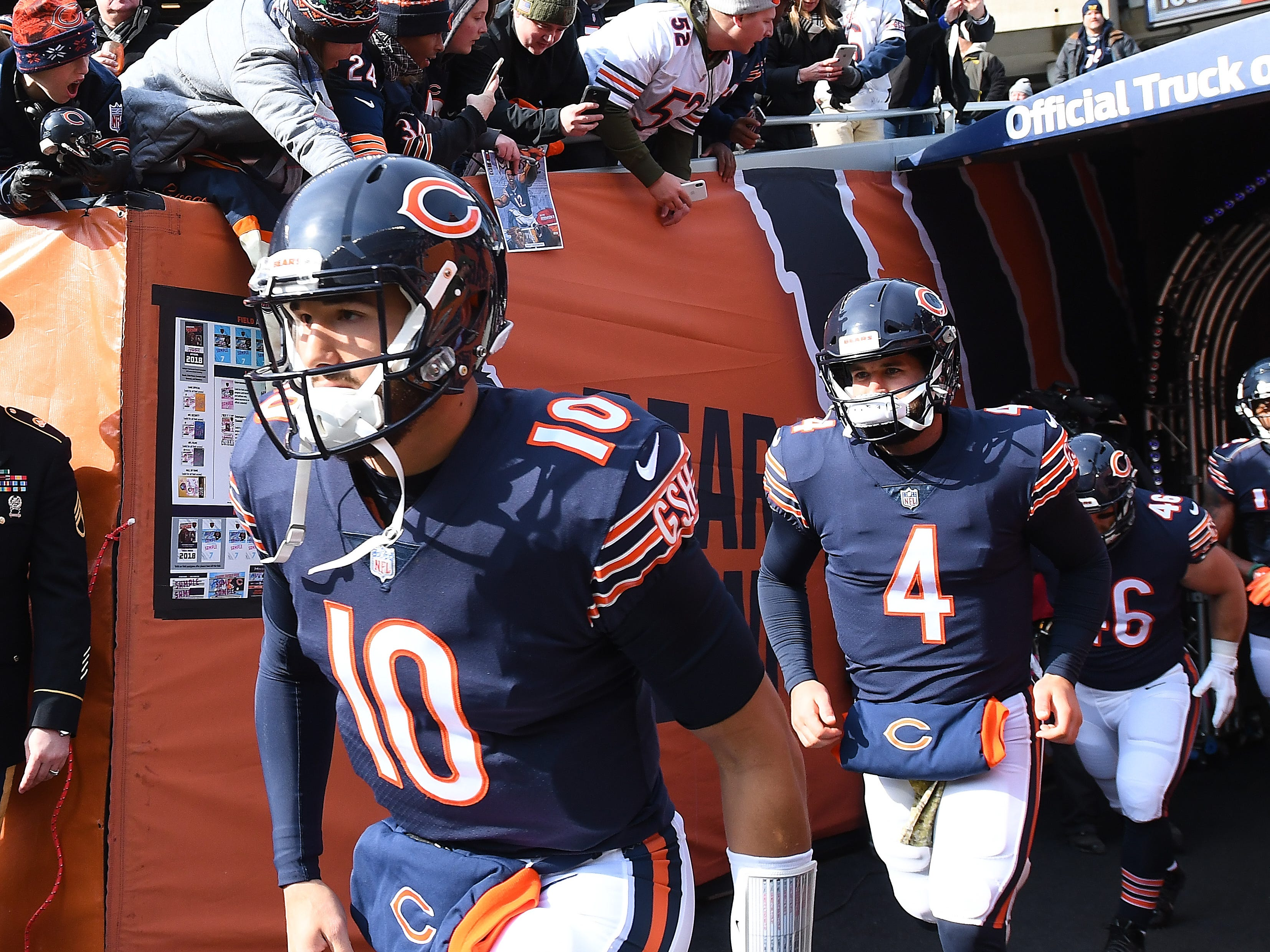 Bears quarterback Mitchell Trubisky leads the team out onto the field before taking on the Detroit Lions at Soldier Field in the fist quarter.