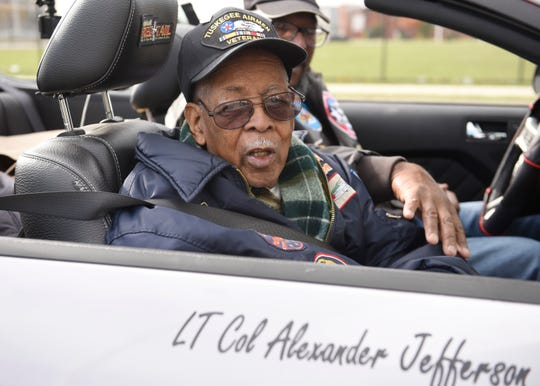 Lt. Col. Alexander Jefferson of the Tuskegee Airmen rides in the parade during the Detroit Veterans Day Parade on Nov. 11, 2018. The parade this year commemorated the 100-year anniversary of the end of World War I. (Clarence Tabb Jr./The Detroit News)