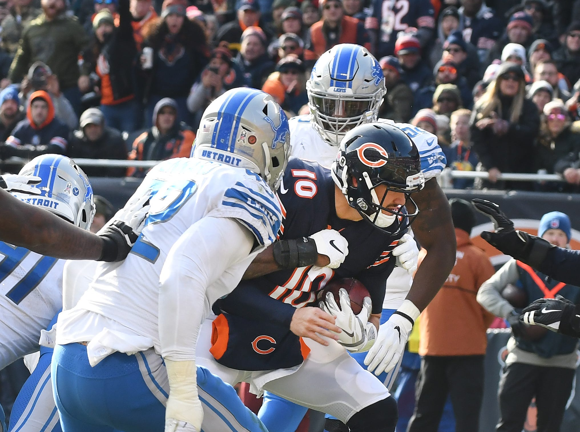 Bears quarterback Mitchell Trubisky storms into the end zone for at touchdown in the second quarter.