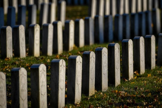 Civil War graves in Evansville's Oak Hill Cemetery Saturday, November 10, 2018.