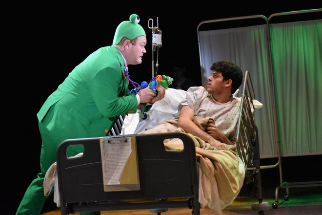 Gordon Schwinn (David Greenhouse) sits on a hospital bed, haunted by a frog from the kid's TV show he composes for.