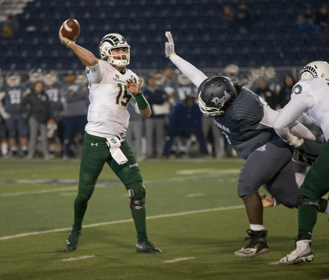 CSU quarterback Collin Hill throws a pass during the Rams' game last Saturday at Nevada. CSU closes out its home season at noon today at Canvas Stadium against Utah State in a game that will be televised regionally by AT&T-Rocky Mountain.