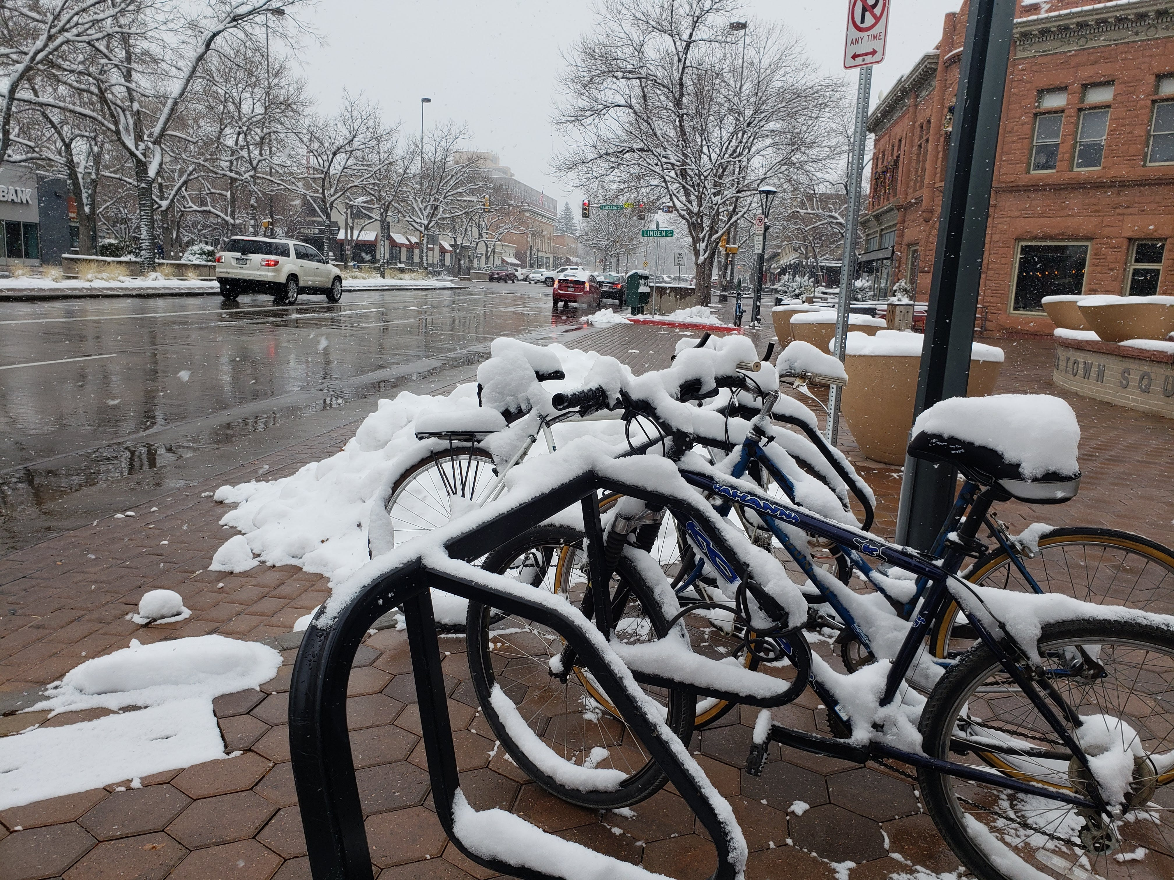 Scenes from a snowy Veteran's Day in Old Town Fort Collins on Nov. 11, 2018.