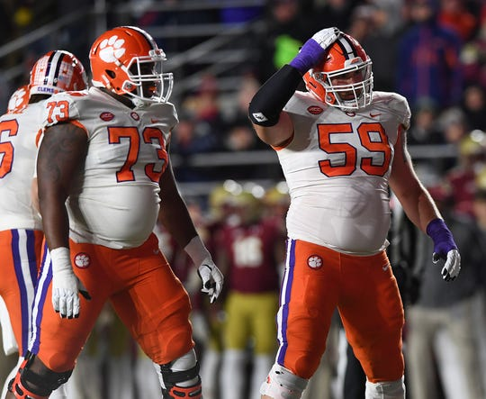 Clemson offensive lineman Tremayne Anchrum (73), left, and Gage Cervenka (59) play against Boston College during the 1st quarter at Boston College's Alumni Stadium in Chestnut Hill, MA. Saturday, November 10, 2018.