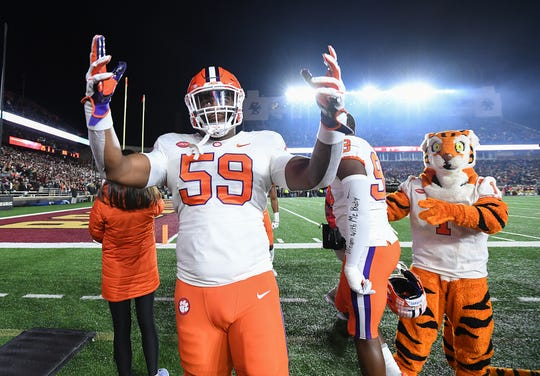 Clemson defensive lineman Jordan Williams (59) during pregame at Boston College's Alumni Stadium in Chestnut Hill, MA. Saturday, November 10, 2018.