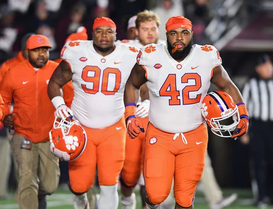 Clemson team captains defensive linemen Dexter Lawrence (90), left, and Christian Wilkins (42) at Boston College's Alumni Stadium in Chestnut Hill, MA. Saturday, November 10, 2018.