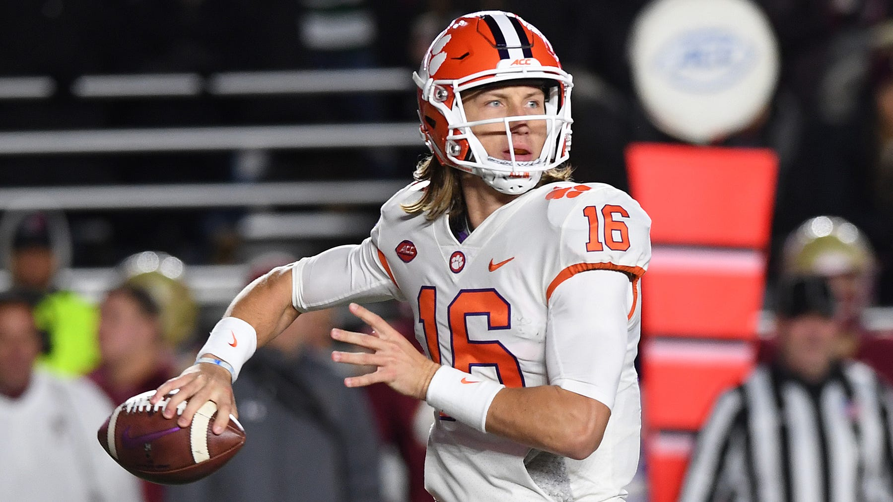 Clemson quarterback Trevor Lawrence (16) passes against Boston College during the 1st quarter at Boston College's Alumni Stadium in Chestnut Hill, MA. Saturday, November 10, 2018.