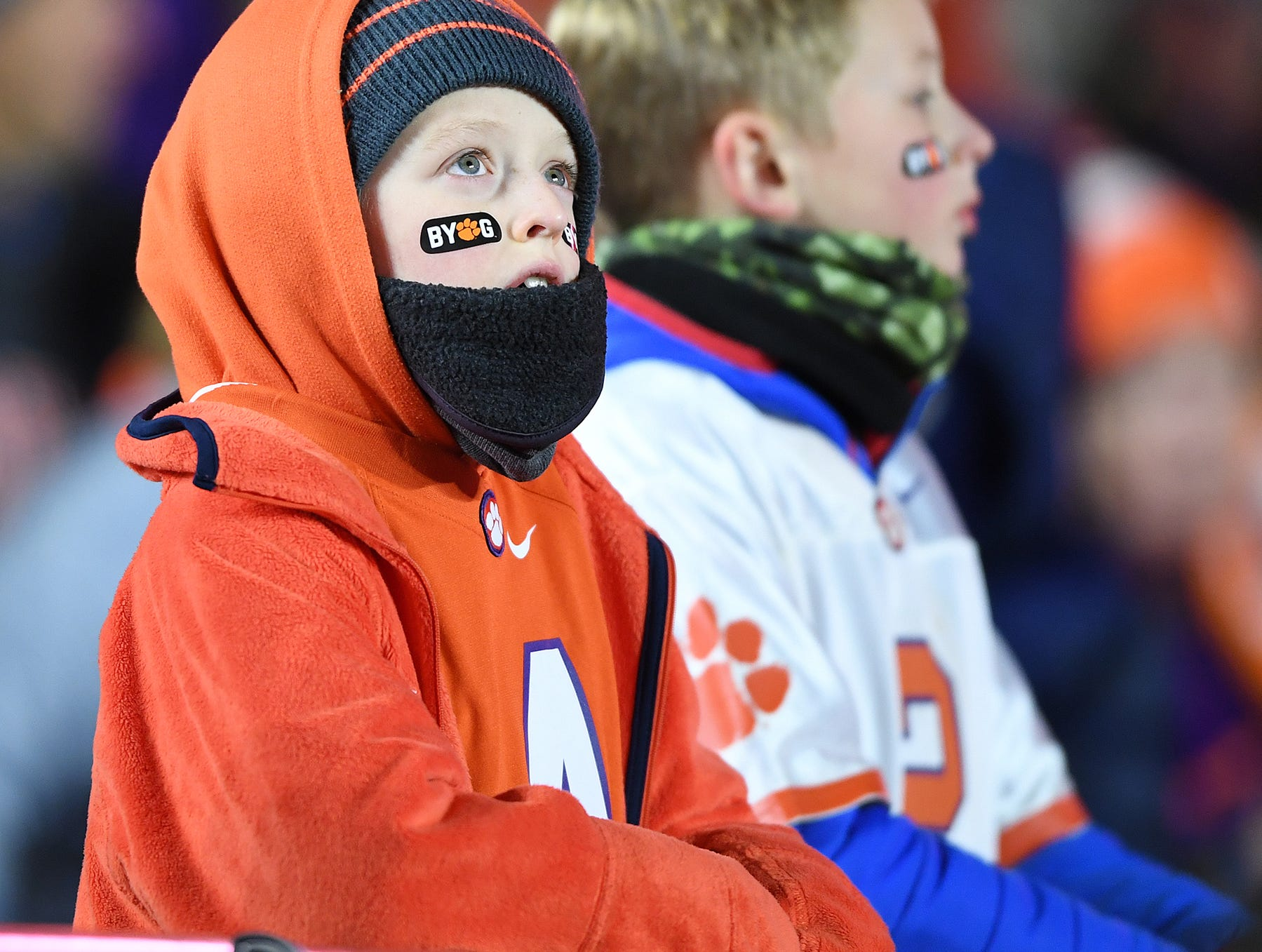 Clemson fan's bundle up from the cold during pregame at Boston College's Alumni Stadium in Chestnut Hill, MA. Saturday, November 10, 2018.