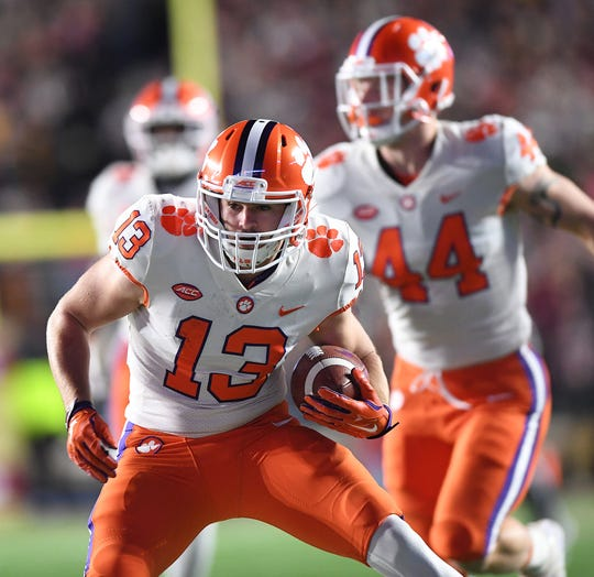 Clemson wide receiver Hunter Renfrow (13) during the 3rd quarter at Boston College's Alumni Stadium in Chestnut Hill, MA. Saturday, November 10, 2018.