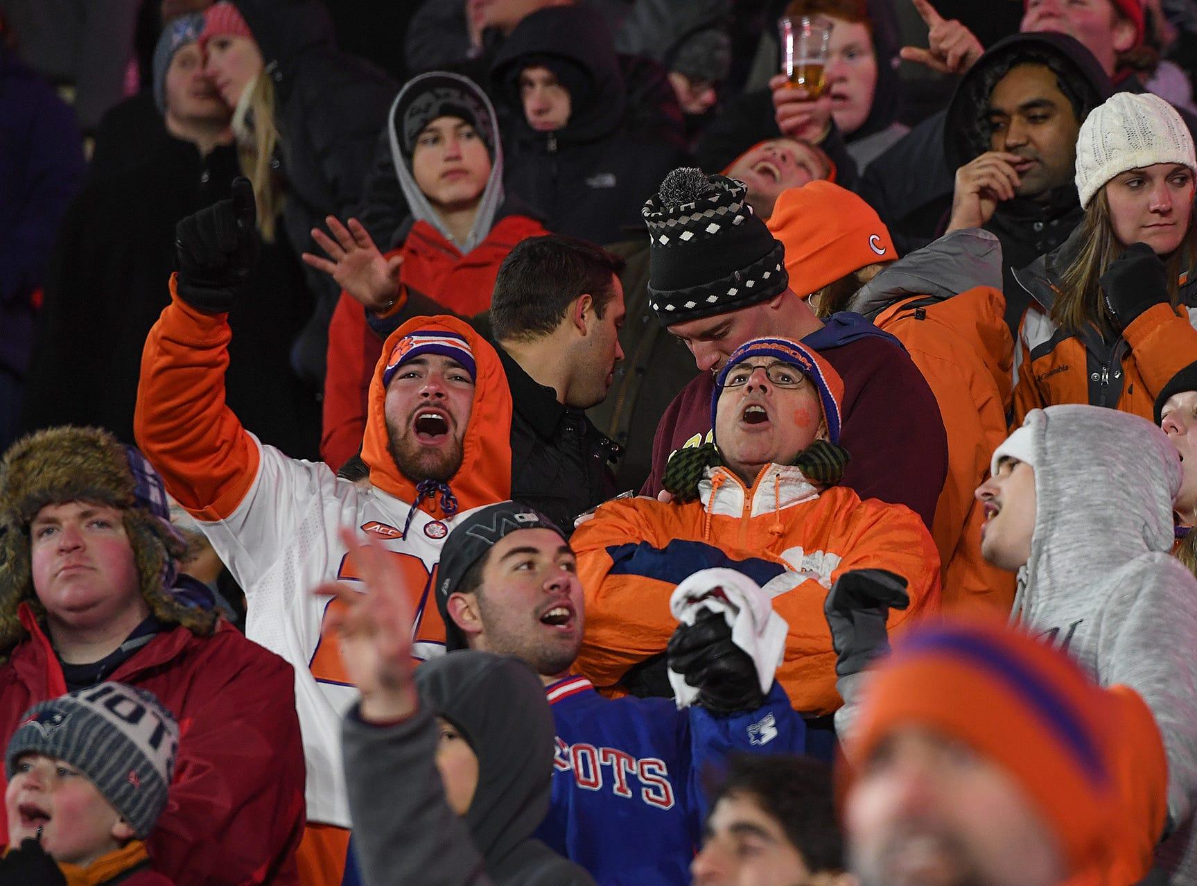 Clemson fans during the 4th quarter at Boston College's Alumni Stadium in Chestnut Hill, MA. Saturday, November 10, 2018.