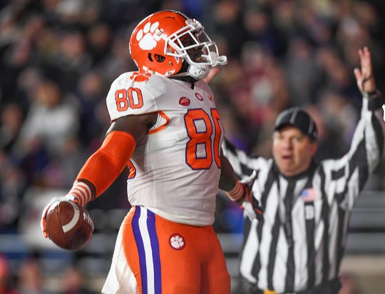 Clemson tight end Milan Richard (80) reacts after catching a TD against Boston College during the 1st quarter at Boston College's Alumni Stadium in Chestnut Hill, MA. Saturday, November 10, 2018.