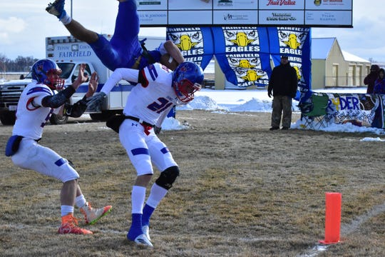 Bigfork's Anders Epperly, left, pictured during a playoff game against Fairfield last Fall, was reportedly injured in a javelin accident during track practice Thursday but is in stable condition and recovering in the hospital in Kalispell.