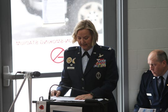 "Col. Jennifer Reeves, commander of Malmstrom Air Force Base, speaks during the Veterans Day ceremony in Great Falls Sunday. ""Methods and tactics were brutal and fierce,"" she said of World War I."