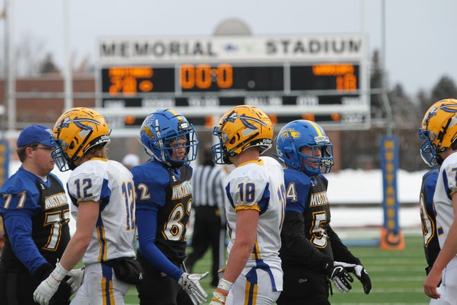 The Great Falls Central Mustungs (blue uniforms) played three Class C playoff games at Memorial Stadium and on Saturday, Nov. 17, play for the state championship in Butte.