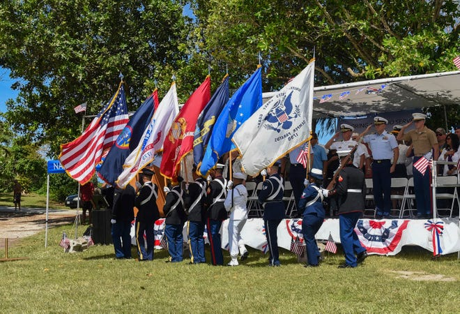 The posting of colors by the Joint Color Guard during a Veterans Day ceremony at the Gov. Joseph Flores Memorial Park is shown in this Nov. 11, 2018, file photo.