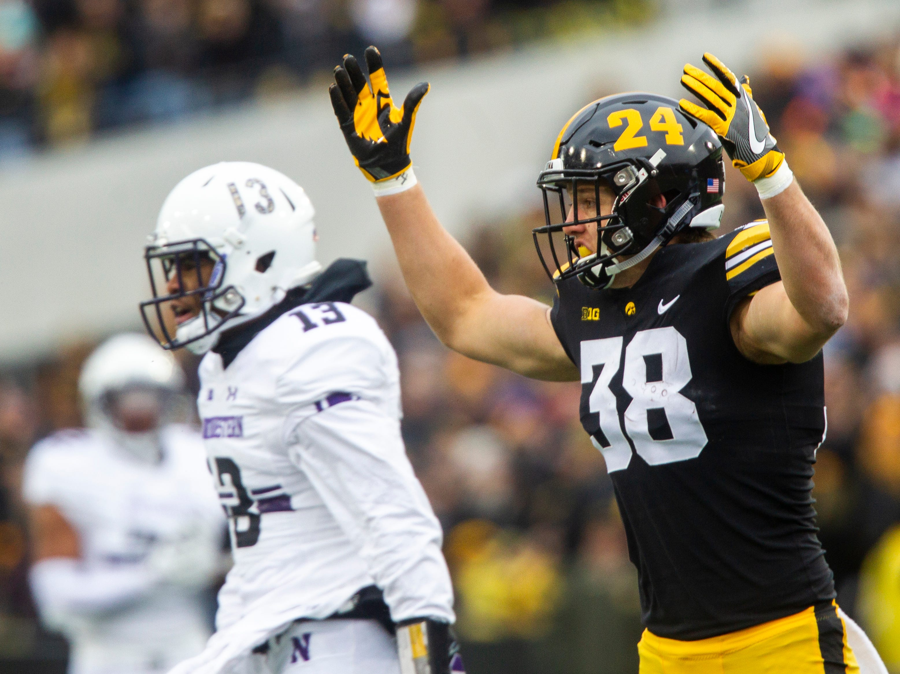 Iowa tight end T.J. Hockenson (38) reacts after a play during a Big Ten Conference football game on Saturday, Nov. 10, 2018, at Kinnick Stadium in Iowa City.