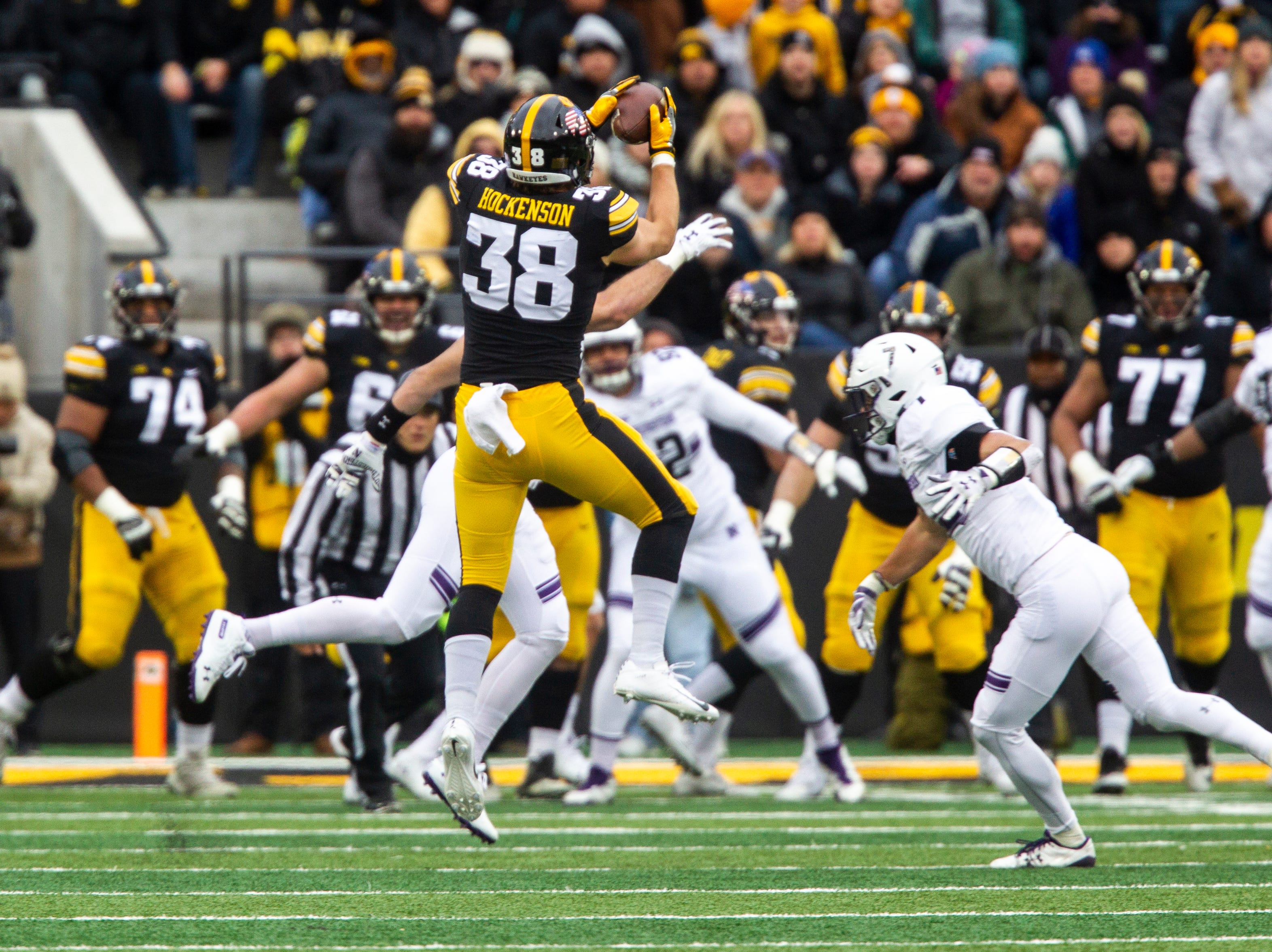 Iowa tight end T.J. Hockenson (38) catches a pass during a Big Ten Conference football game on Saturday, Nov. 10, 2018, at Kinnick Stadium in Iowa City.