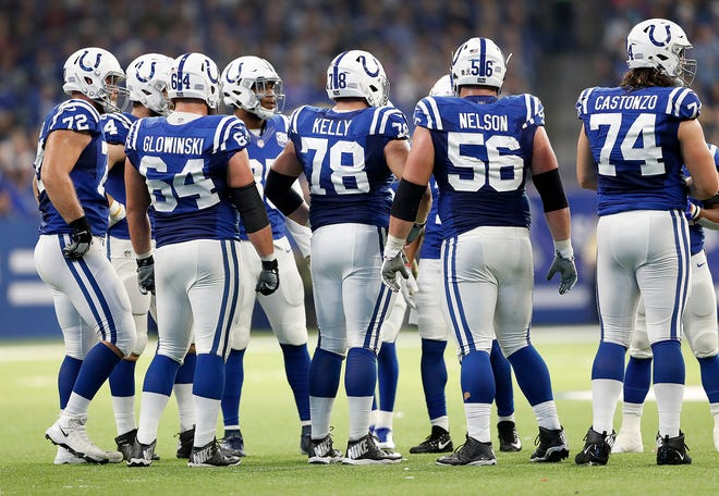 Indianapolis Colts offensive line  Anthony Castonzo (74),right, Quenton Nelson (56), Ryan Kelly (78), Mark Glowinski (64) and Braden Smith (72)  in the first half of their game at Lucas Oil Stadium on Sunday, Nov. 11, 2018.