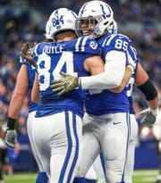 Indianapolis Colts tight end Eric Ebron (85) celebrates his second touchdown of the game against the Jacksonville Jaguars at Lucas Oil Stadium on Sunday, Nov. 11, 2018.