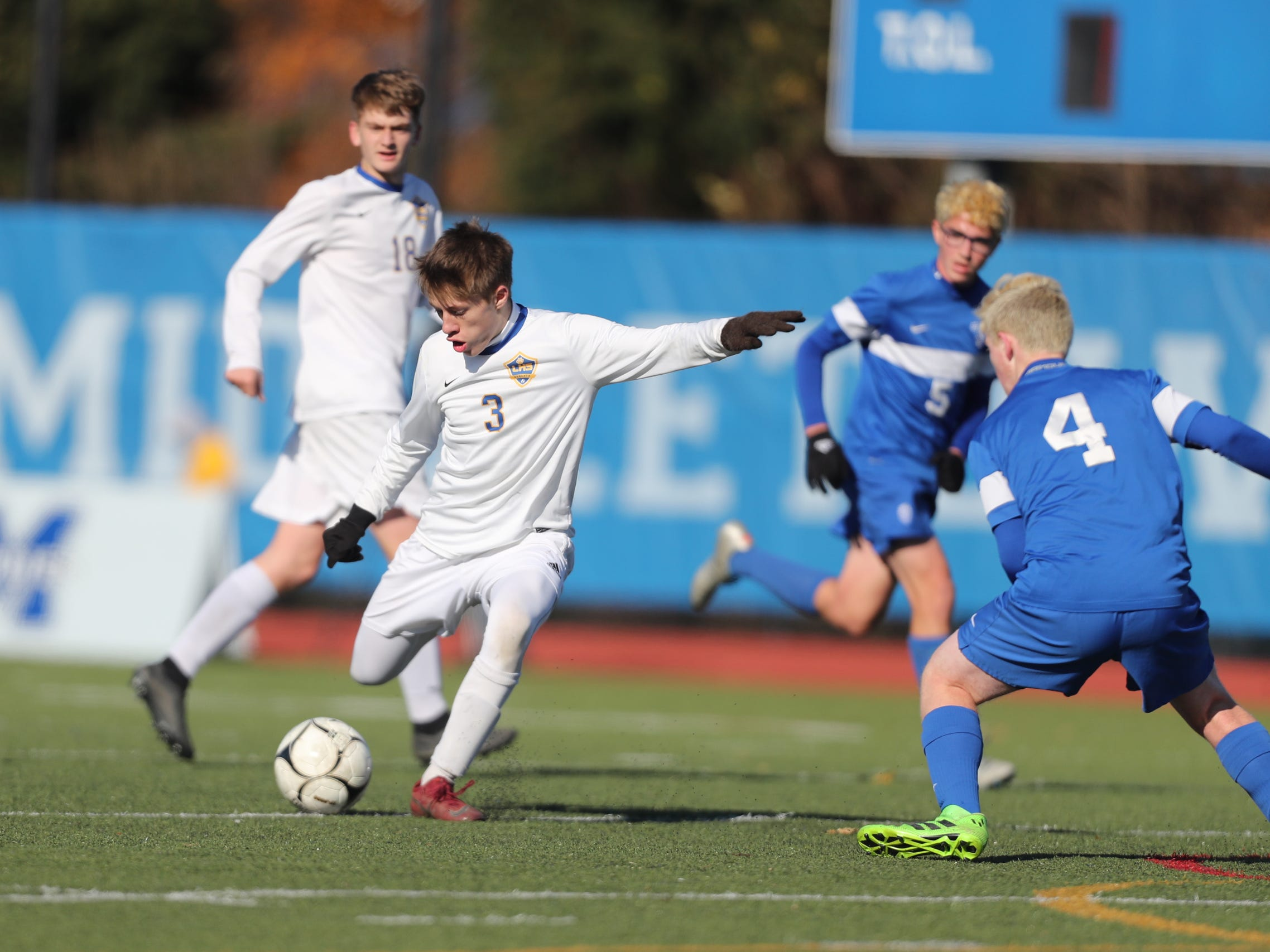 Lansing defeats Geneseo 3-0 in the Class C boys state soccer final at Middletown High School in Middletown on Sunday, November 11, 2018.