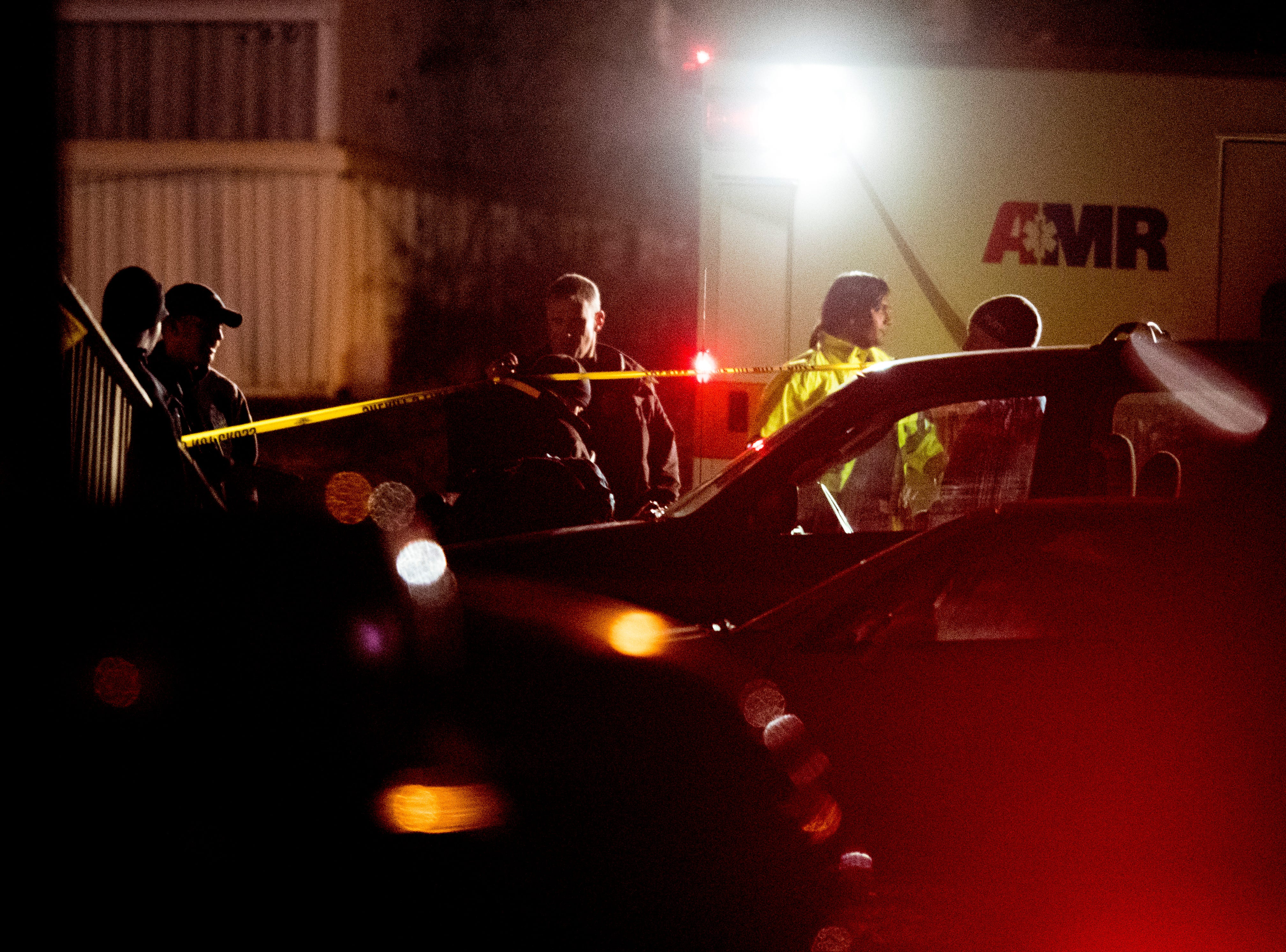 Investigators at the scene of a shooting on Forest Edge Way in Knoxville, Tennessee on Saturday, November 10, 2018. One victim was confirmed dead at the scene and a second injured.