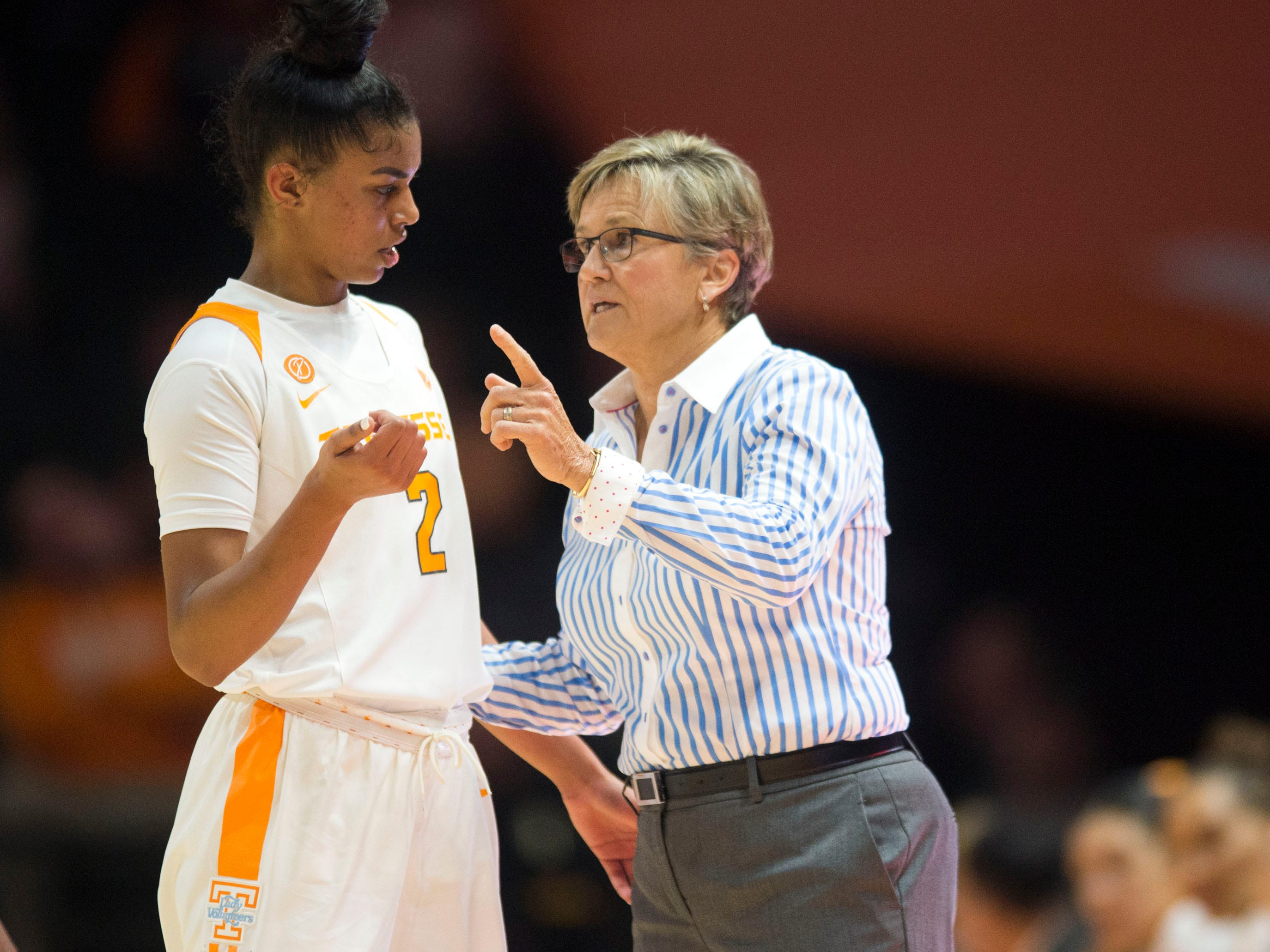 Tennessee head coach Holly Warlick talks with Evina Westbrook (2) during the season-opening game against the Presbyterian on Sunday, November 11, 2018.