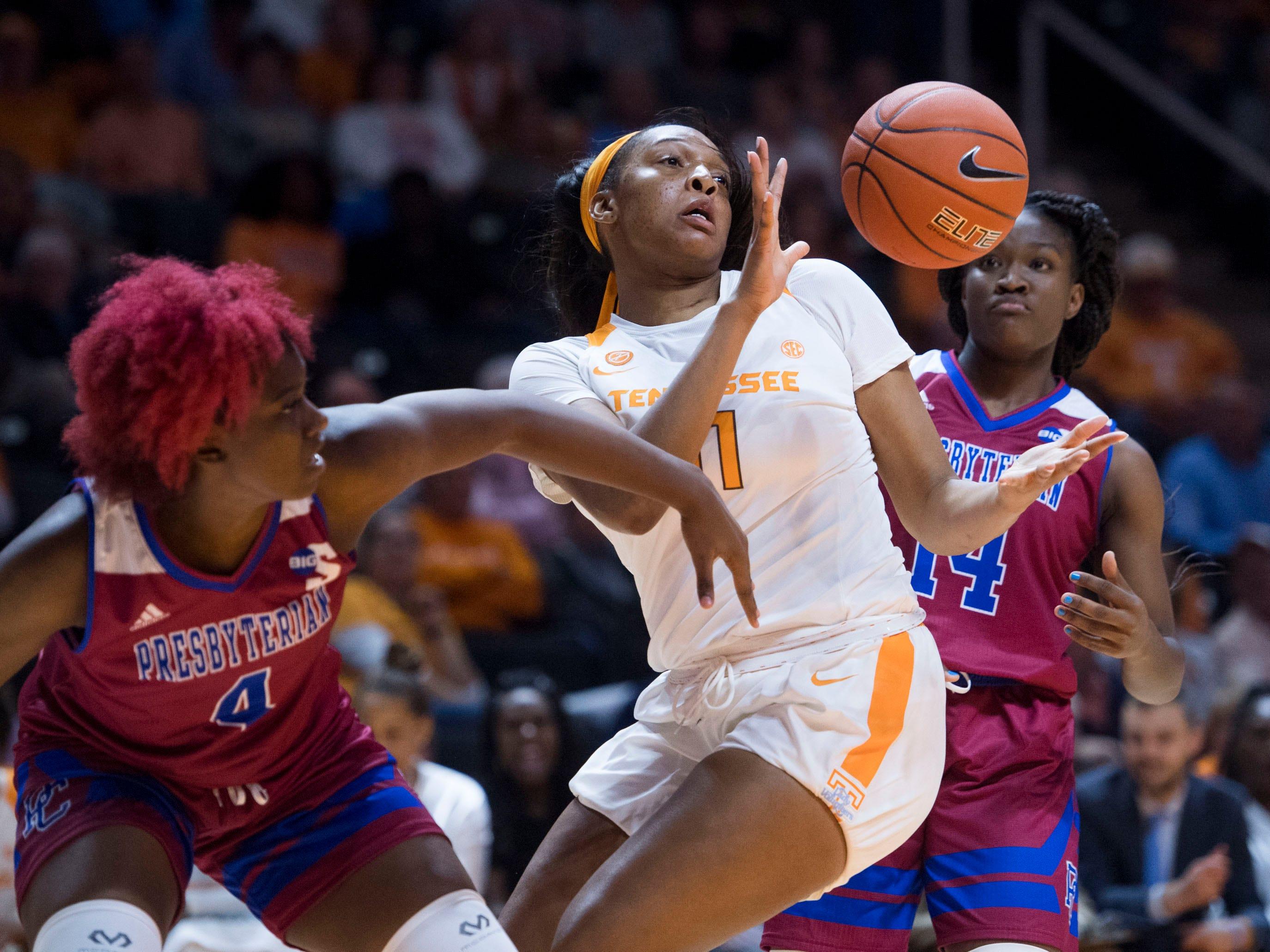 Tennessee's Kasiyahna Kushkituah (11) gets the rebound over Presbyterian on Sunday, November 11, 2018.