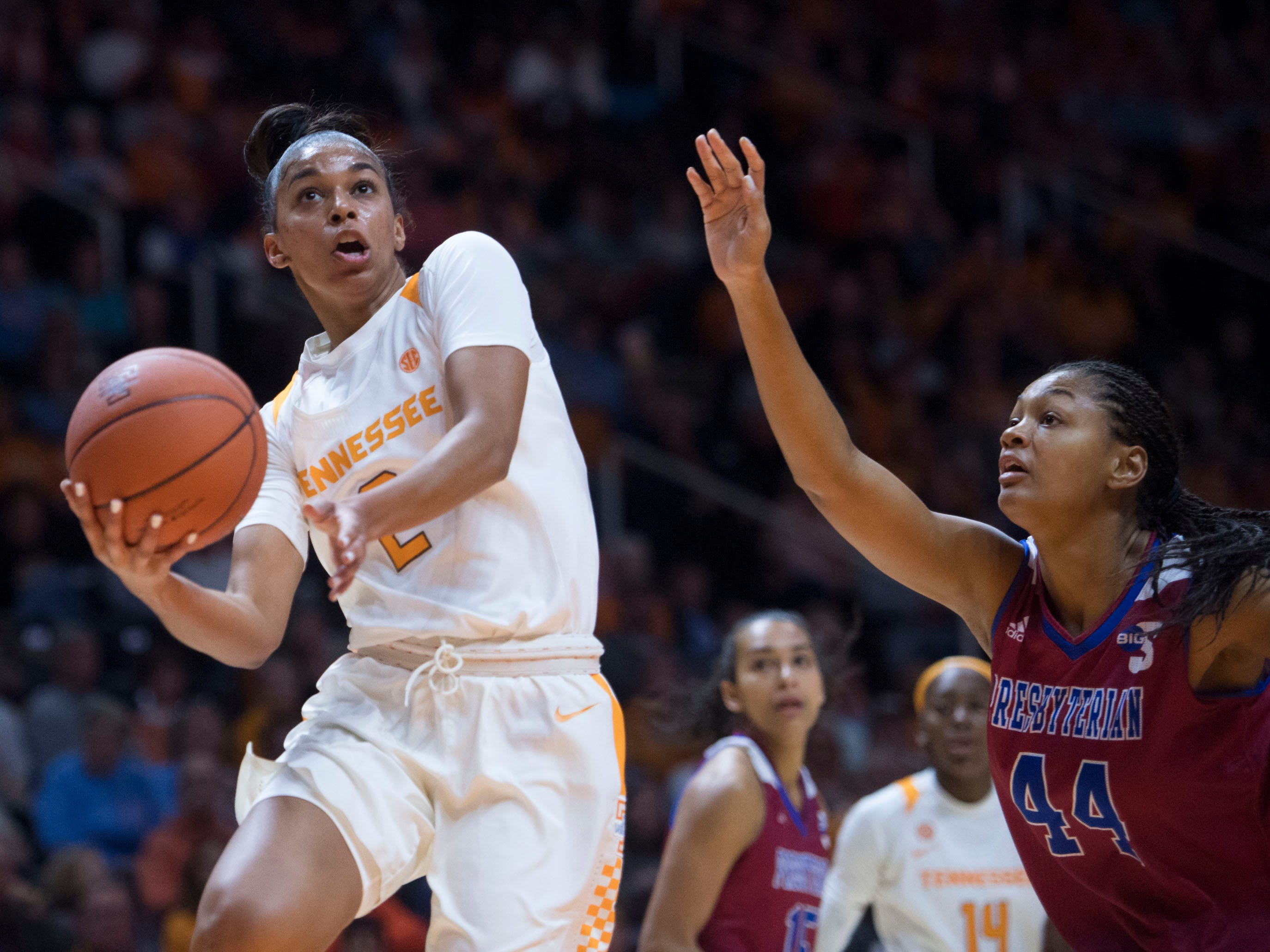 Tennessee's Evina Westbrook (2) makes a shot while defended by Presbyterian's Ericka Blackwell-Boyden (44) on Sunday, November 11, 2018.