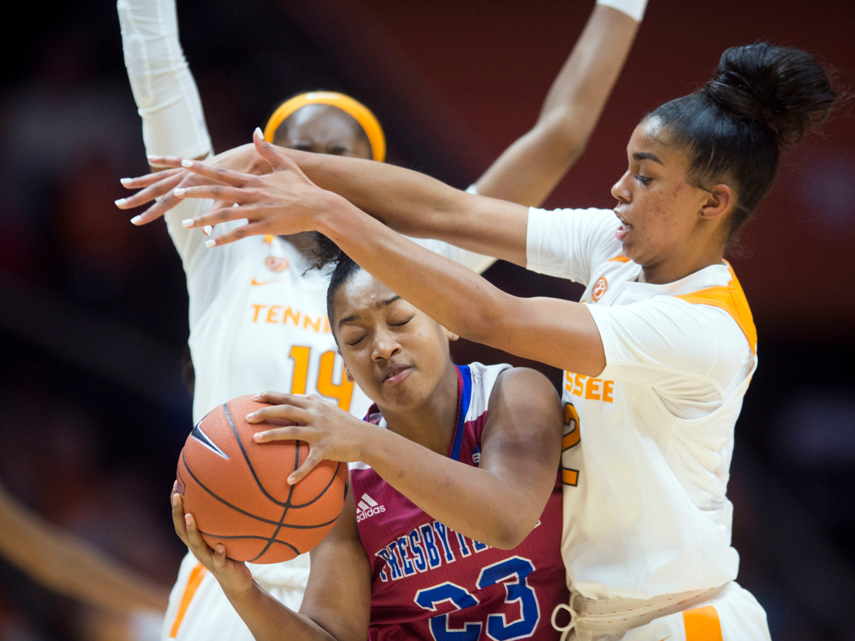 Tennessee's Evina Westbrook (2) defends Presbyterian's Shamani Stafford (23) on Sunday, November 11, 2018.