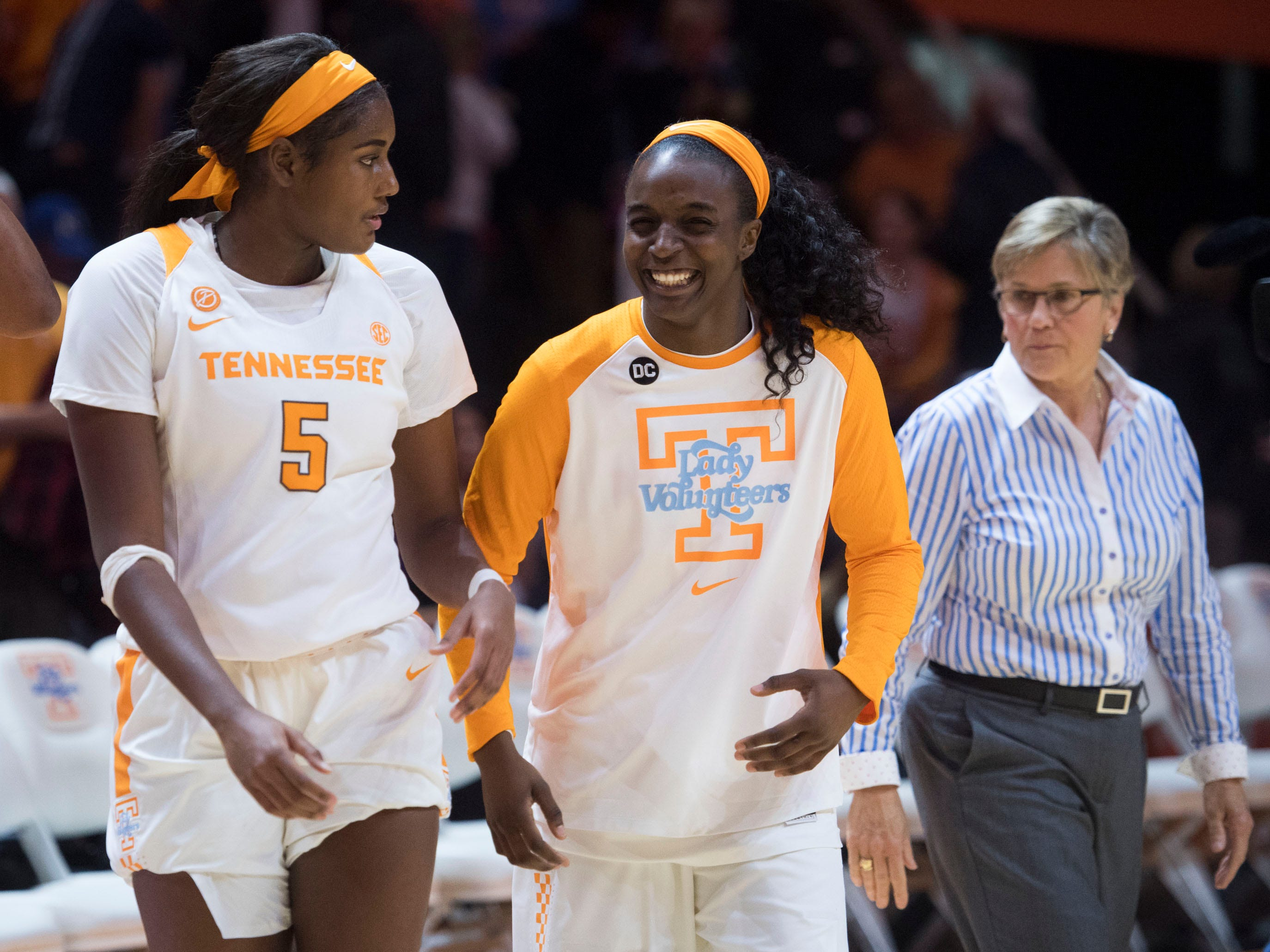 Tennessee's Kamera Harris (5) and Meme Jackson (10) walk onto the court after the 97-49 win over Presbyterian on Sunday, November 11, 2018.