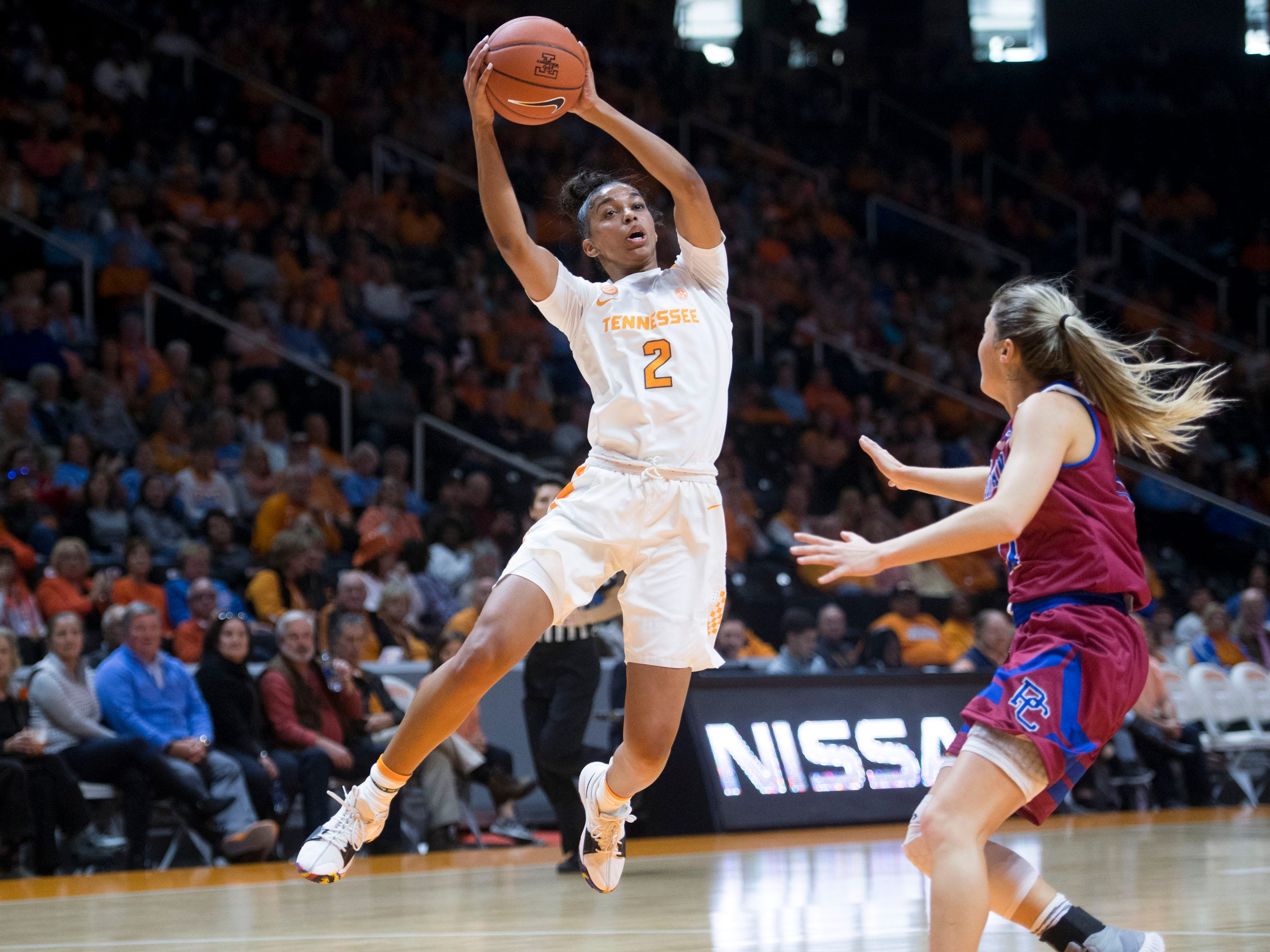 Tennessee's Evina Westbrook (2) pulls down a pass while defended by Presbyterian's Kacie Hall (11) on Sunday, November 11, 2018.