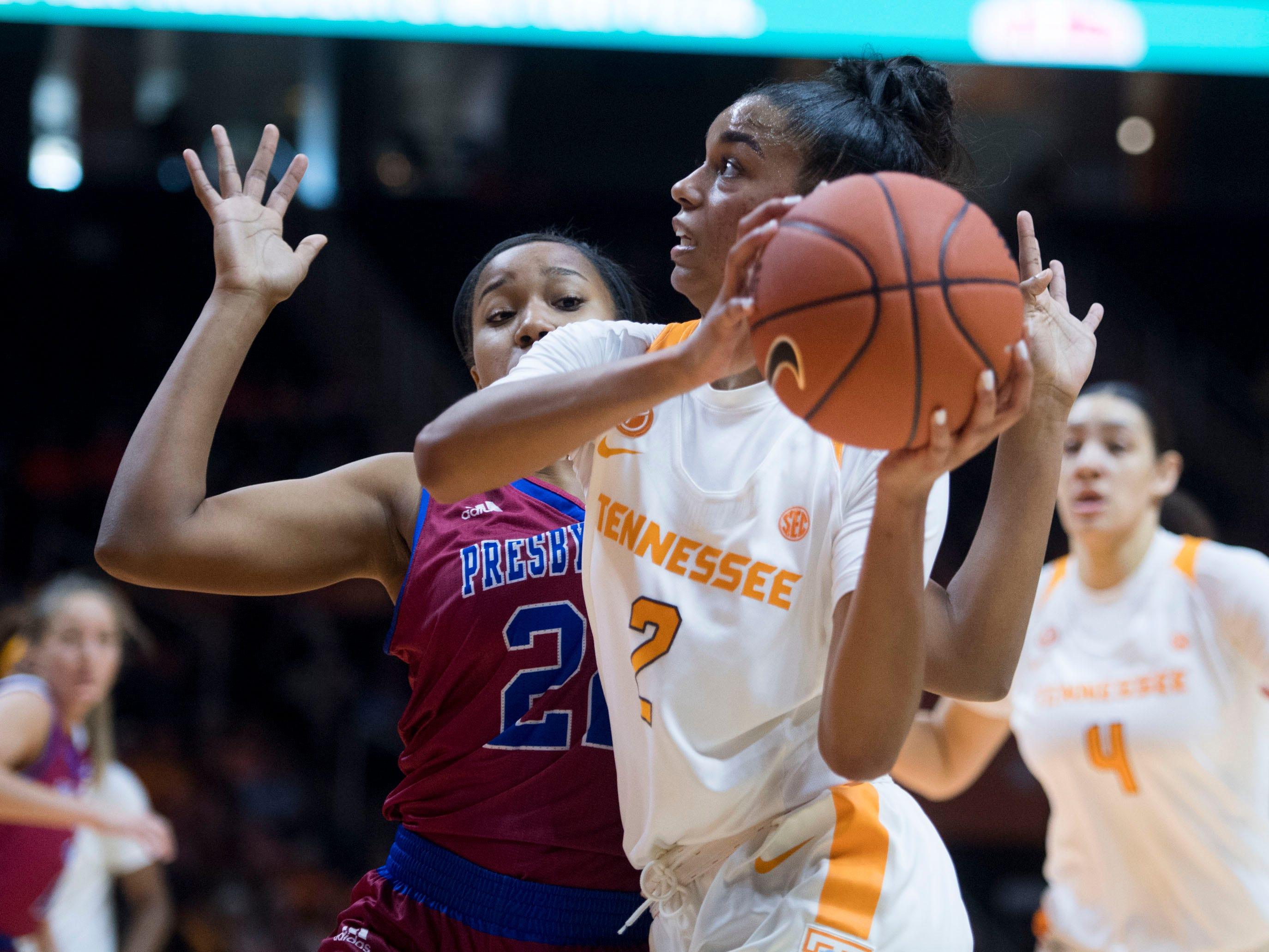 Tennessee's Evina Westbrook (2) drives to the basket while defended by Presbyterian's Kiara Jackson (22) on Sunday, November 11, 2018.