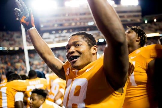 Tennessee defensive back Nigel Warrior (18) celebrates after Tennessee defeated Kentucky 24-7 at Neyland Stadium in Knoxville, Tennessee on Saturday, November 10, 2018.