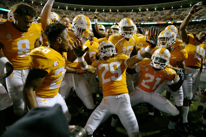 Tennessee defensive back Brandon Davis (29) dances with his players in the end zone following their 24-7 victory over  Kentucky Saturday, November 10, 2018 at Neyland Stadium in Knoxville, Tenn.