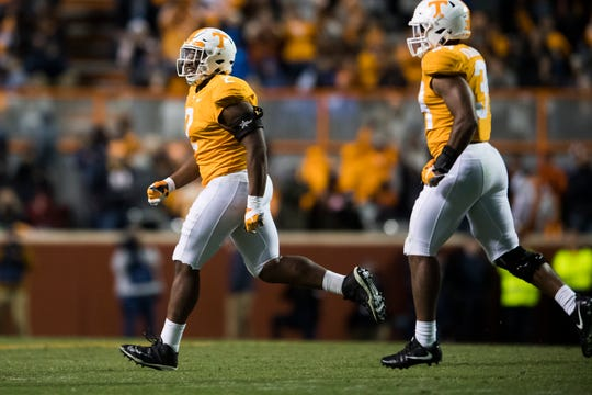 Tennessee defensive lineman Shy Tuttle (2) runs off the field after blocking a field goal attempt during a game between Tennessee and Kentucky at Neyland Stadium in Knoxville, Tennessee on Saturday, November 10, 2018.