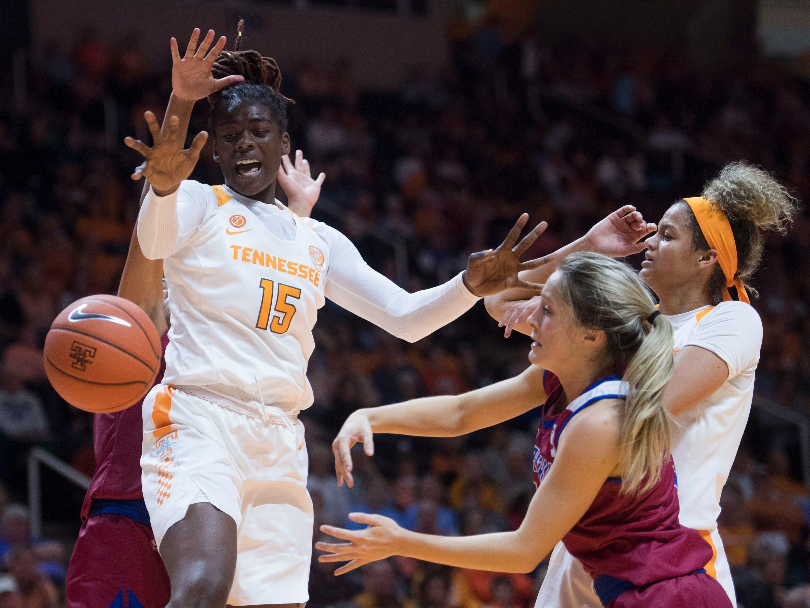 The ball is knocked away from Tennessee's Cheridene Green (15) during the season-opener with Presbyterian on Sunday, November 11, 2018.