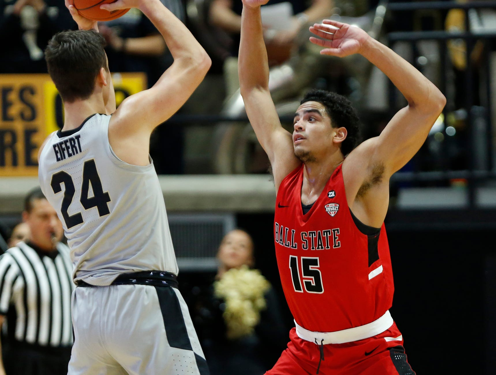 Zach Gunn of Ball State marks Grady Eifert of Purdue Saturday, November 10, 2018, at Mackey Arena. Purdue defeated Ball State 84-75.