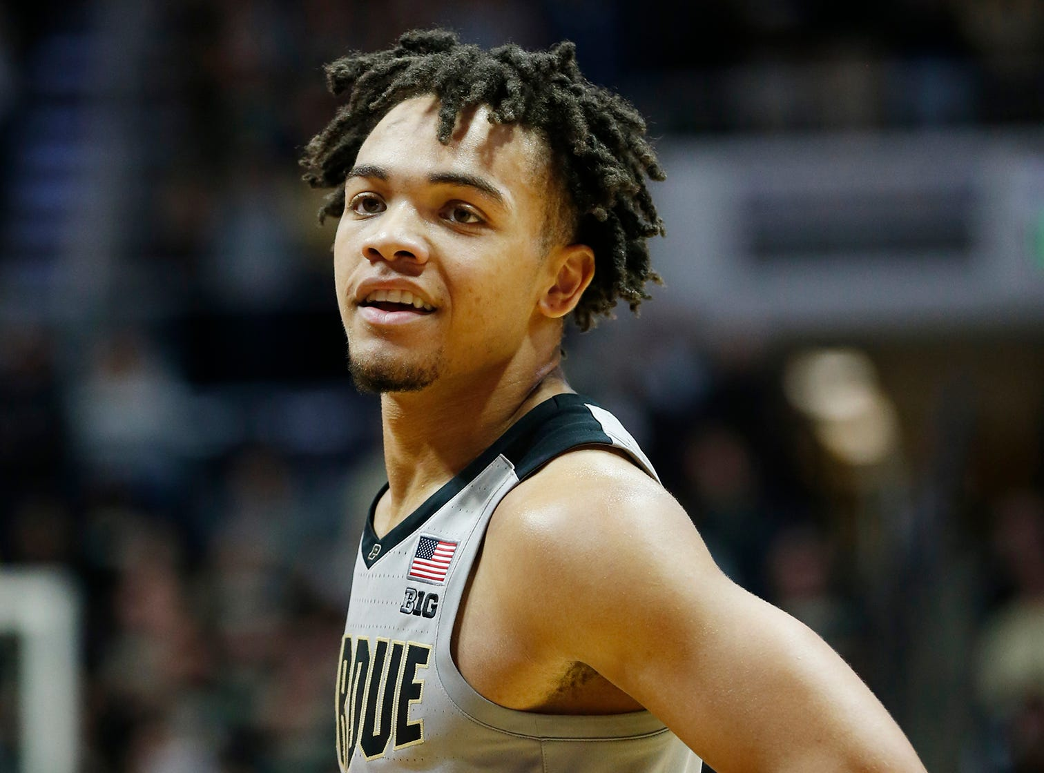 Carsen Edwards of Purdue grins as the Boilermakers prepare to shoot a free throw against Ball State Saturday, November 10, 2018, at Mackey Arena. Purdue defeated Ball State 84-75.