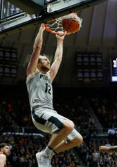 Evan Boudreaux of Purdue gets free for a dunk against Ball State Saturday, November 10, 2018, at Mackey Arena. Purdue defeated Ball State 84-75.