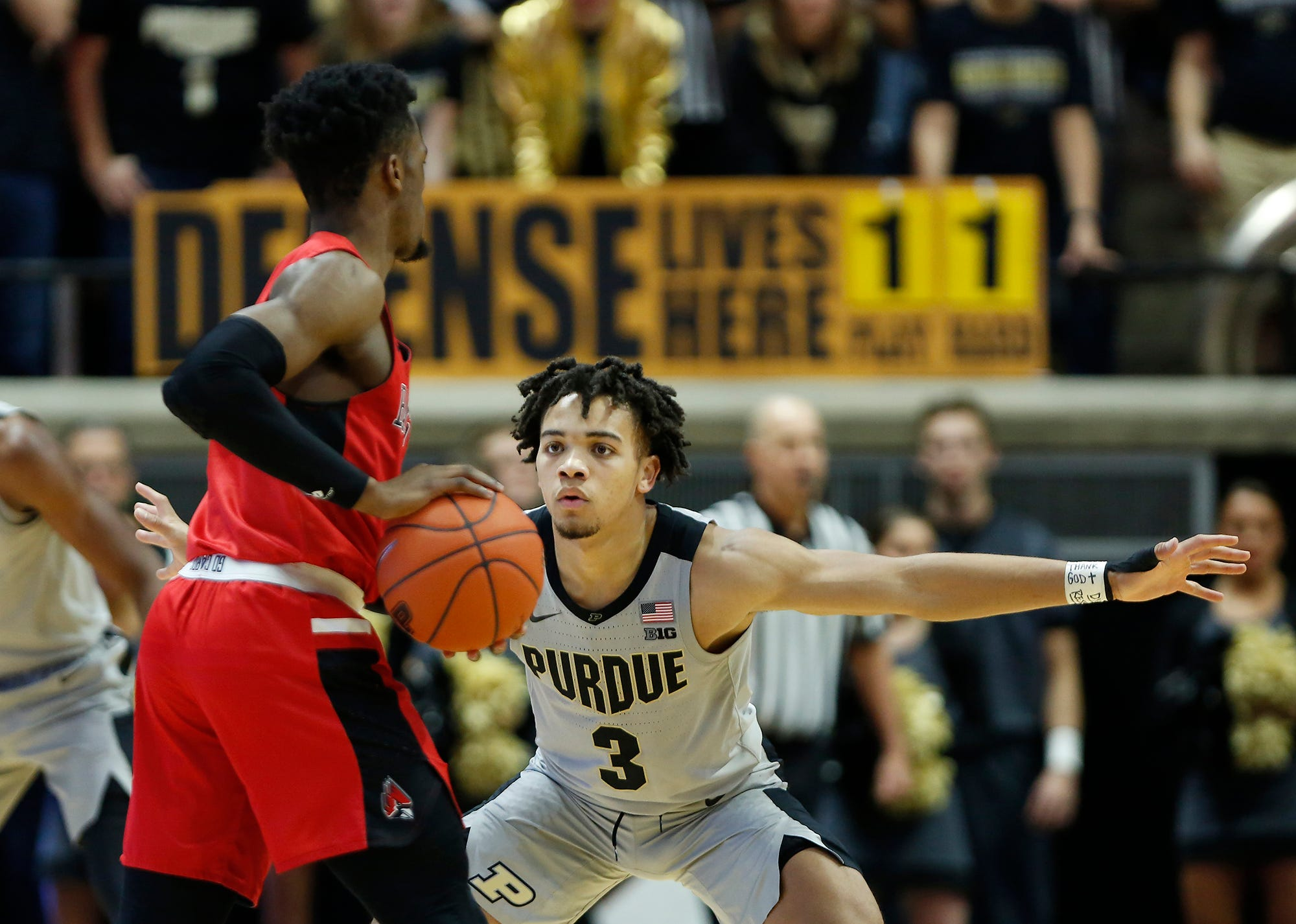 Carsen Edwards of Purdue picks up K. J. Walton of Ball State at the top of the key Saturday, November 10, 2018, at Mackey Arena. Purdue defeated Ball State 84-75.