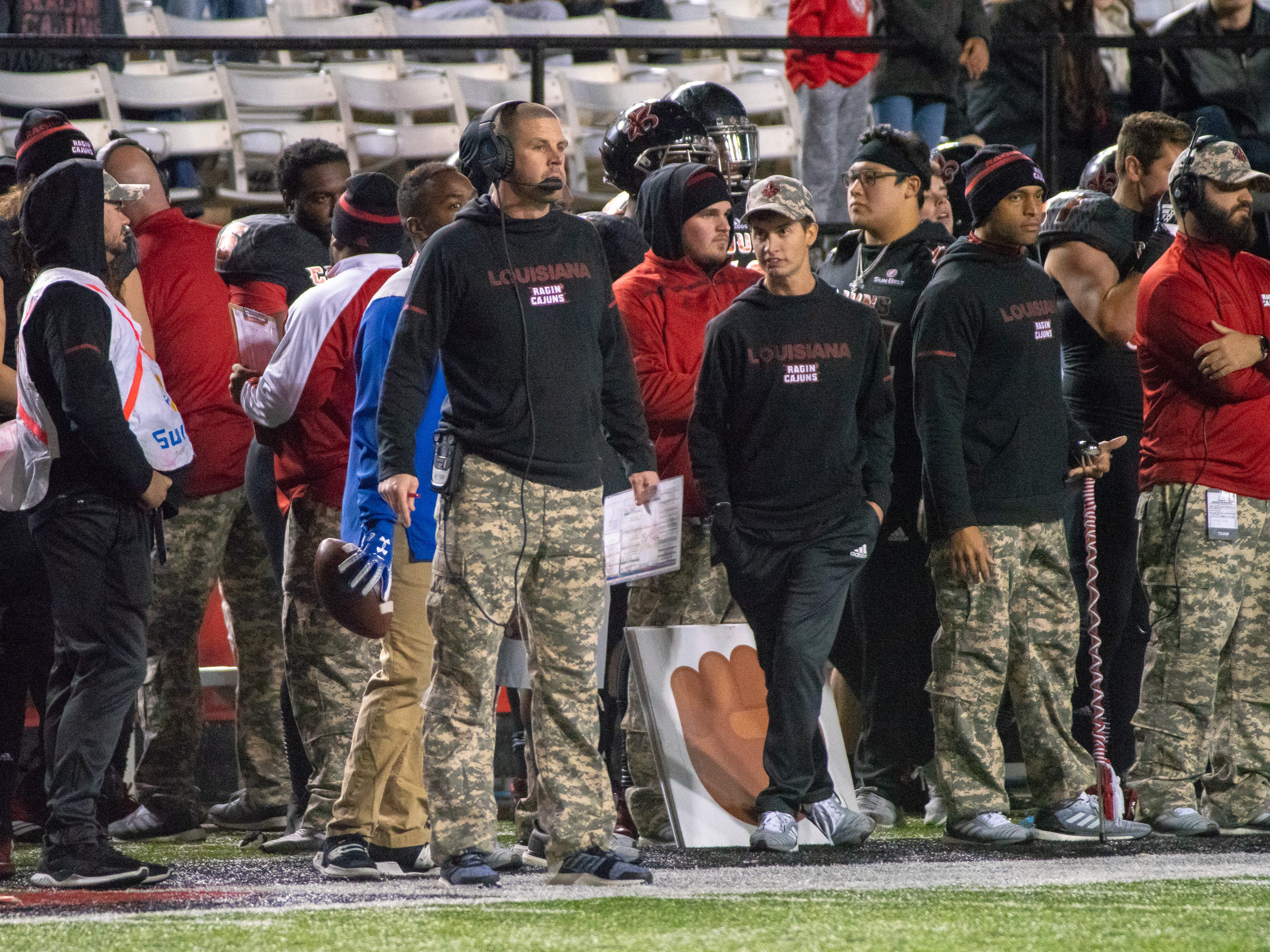 UL's head football coach Billy Napier watches the game from the sidelines as the Ragin' Cajuns play against the Georgia State Panthers at Cajun Field on Saturday Nov. 10, 2018.