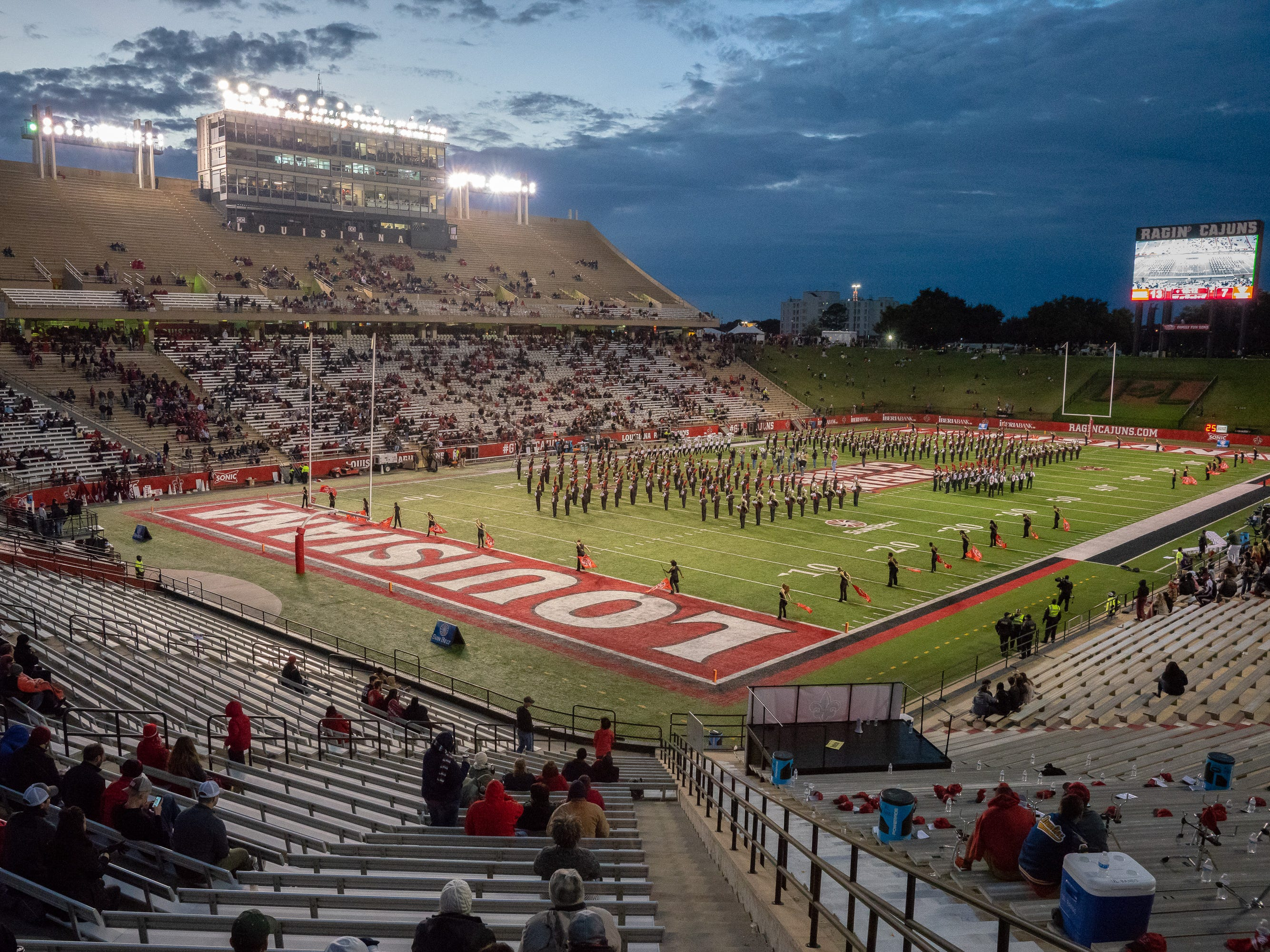 The Pride of Acadiana marching band performs at half-time as the Ragin' Cajuns play against the Georgia State Panthers at Cajun Field on Saturday Nov. 10, 2018.