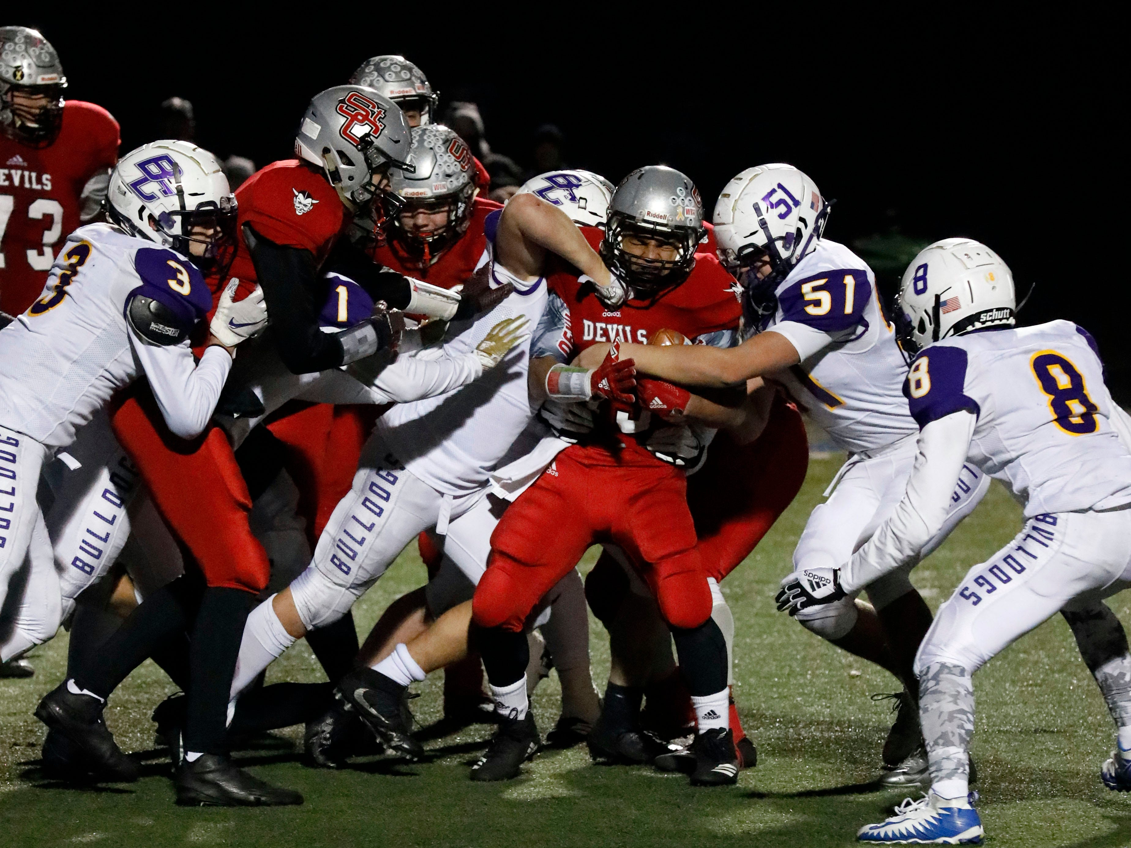 Bloom-Carroll lost a regional semifinal game to St. Clairsville Saturday night, Nov. 10, 2018, at Zanesville High School in Zanesville.