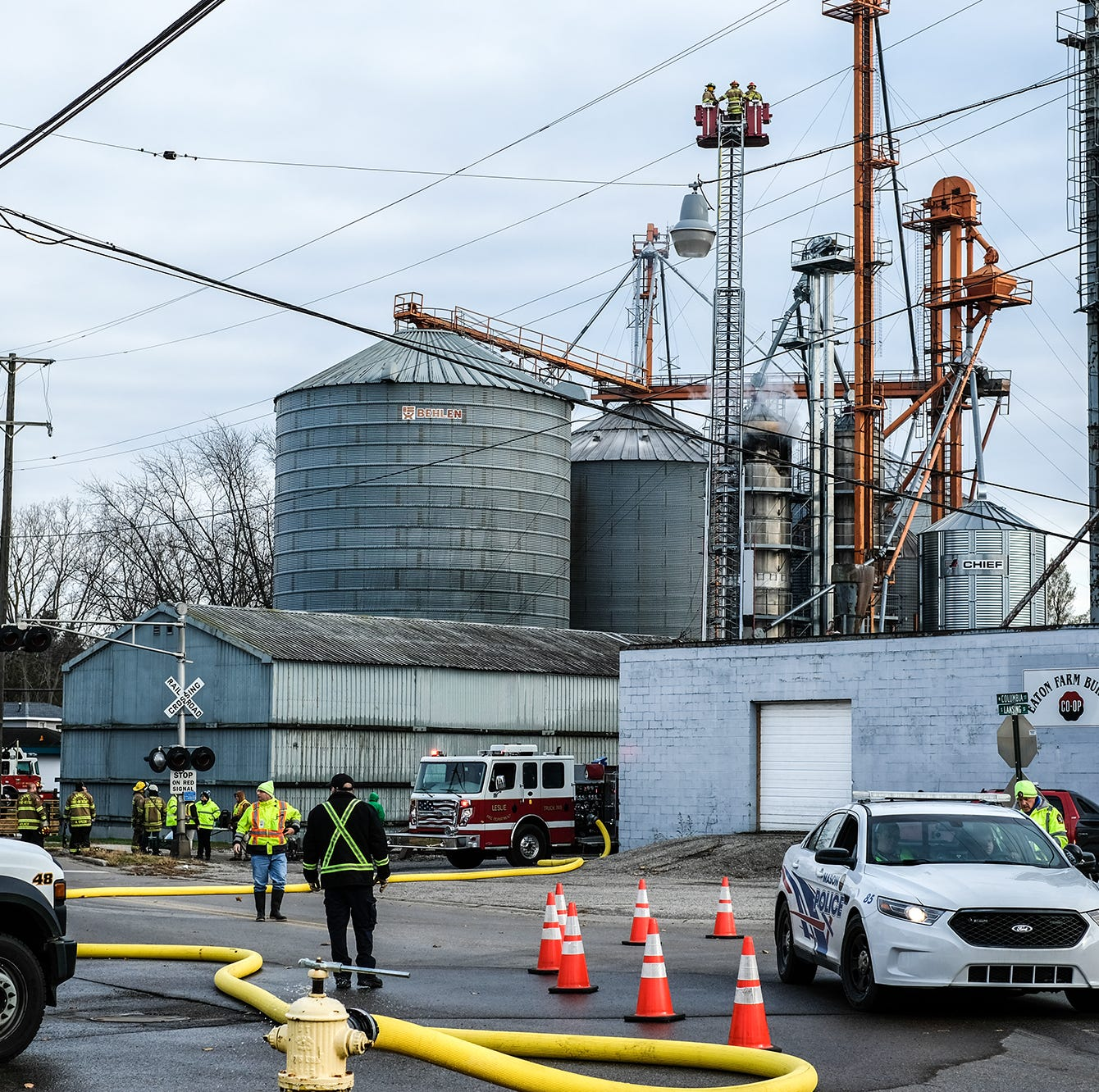 Crews from 4 fire departments on scene of blaze at agricultural facility in Mason