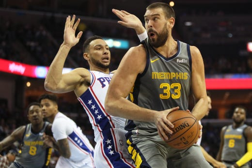 Memphis Grizzlies center Marc Gasol pounds the ball inside against Philadelphia 76ers guard Ben Simmons during their game at the FedExForum on Saturday, November 10, 2018.