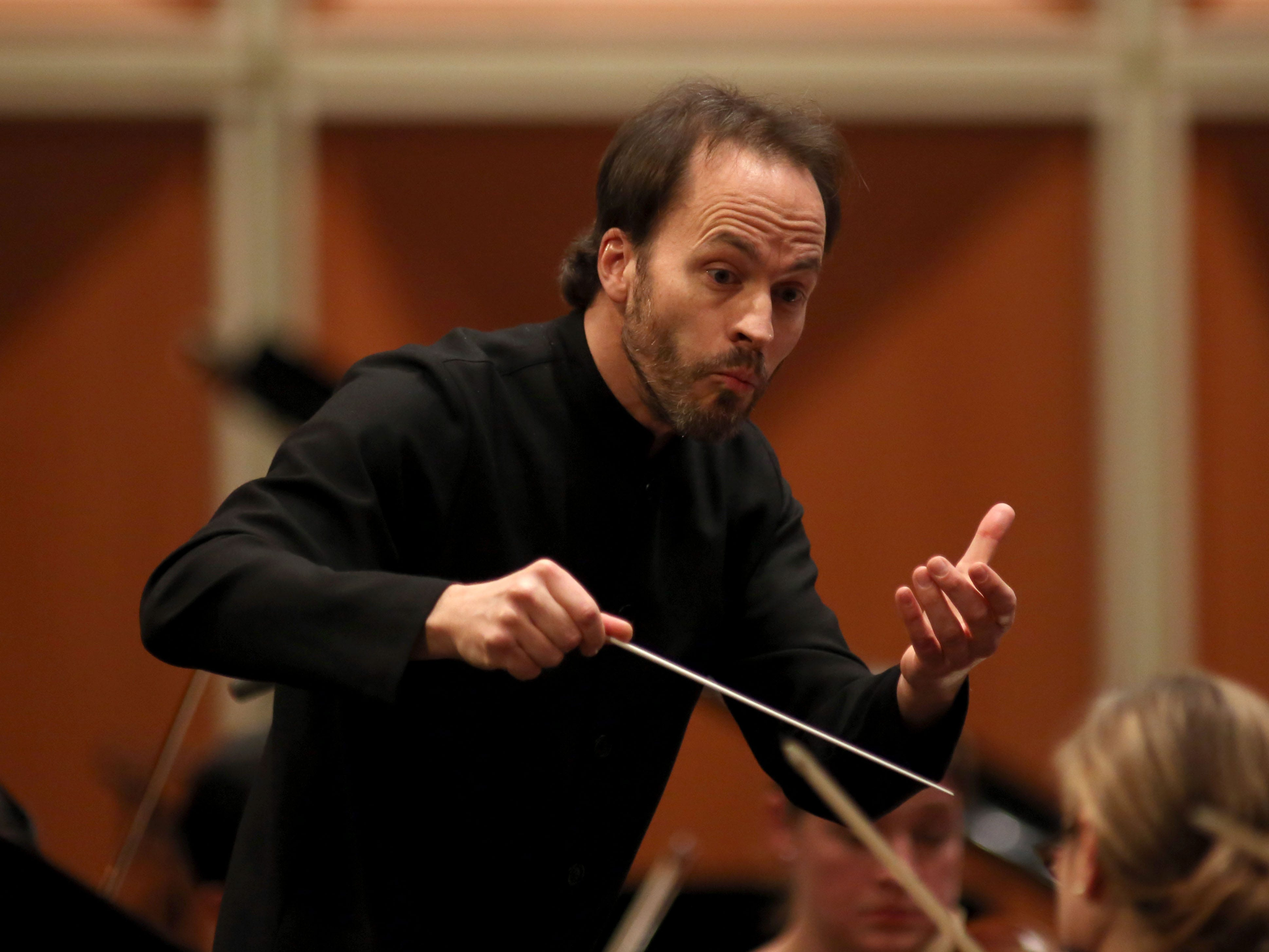 Conductor Johannes Debus leads the Milwaukee Symphony Saturday night at the Marcus Center.